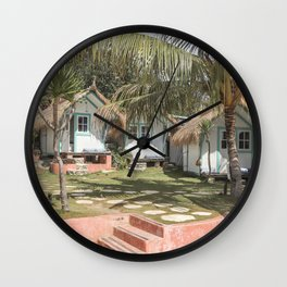 Tropical Bali Leaves Photo | Palm Tree Sun Garden Art Print | Colorful Indonesia Travel Photography  Wall Clock