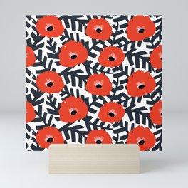 Summer Poppy Floral Print Mini Art Print