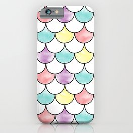 Cotton Candy Watercolor Mermaid Scales iPhone Case