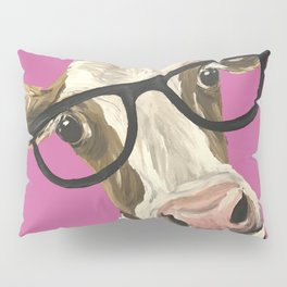 Pink Cow with glasses art, Cute Cow With Glasses Pillow Sham
