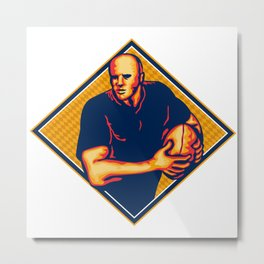 Rugby Player Running Ball Retro Metal Print