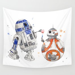 R2-D2 & BB-8 Watercolour Illustration Wall Tapestry