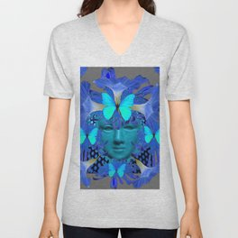 BLUE MORNING GLORIES BUTTERFLY MASQUERADE DESIGN Unisex V-Neck