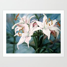 Watercolor Botanical Garden Flower White Lilies Art Print