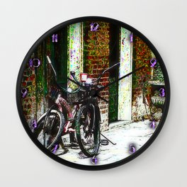Two Bicycles In the Alley Wall Clock
