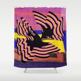 coral warp Shower Curtain