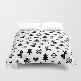 PIXEL PATTERN - WINTER FOREST Duvet Cover