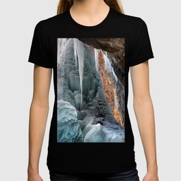 Behind Spouting Rock  Frozen Waterfall - Hanging Lake - Glenwood Canyon Colorado T-shirt