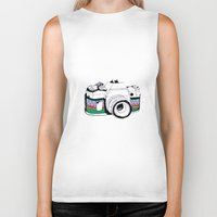 camera Biker Tanks featuring Camera by Mariam Tronchoni