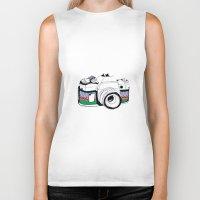 camera Biker Tanks featuring Camera by Mariam Tronchoni