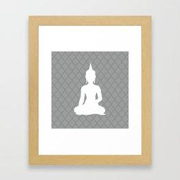 Grey and White Buddha Framed Art Print