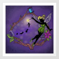 tinker bell Art Prints featuring Sihouette Tinker Bell by Katie Simpson a.k.a. Redhead-K