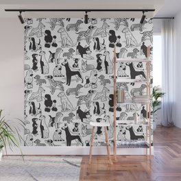 Geometric sweet wet noses // white background black and white dogs Wall Mural