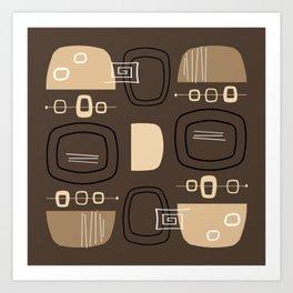 Midcentury Modern Bowls & Stones Chocolate Brown Art Print