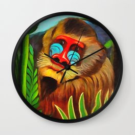 Henri Rousseau Mandrill In The Jungle Wall Clock