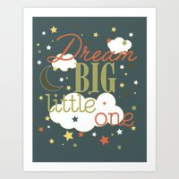 Dream Big Little One in Green --Inspirational wall decor for boys Art Print