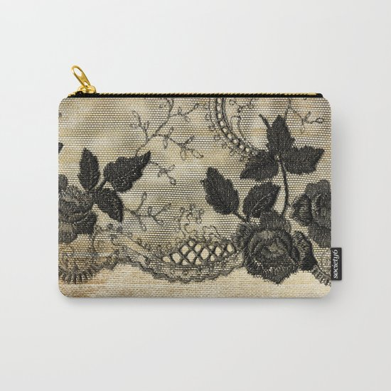 Black floral lace on wood  -Elegant and luxury design for women Carry-All Pouch