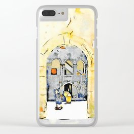 Old woman in courtyard to Tortora Clear iPhone Case