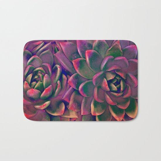 Green & violet succulent Bath Mat