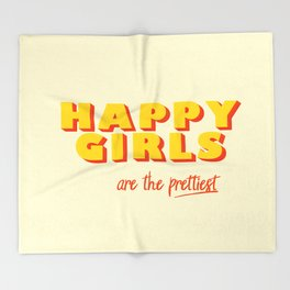 Happy Girls - typography Throw Blanket