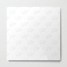 Line Elephant March (White) Metal Print