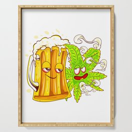 Happy Couple Wasted Funny Beer Mug and Cannabis Leaf Serving Tray