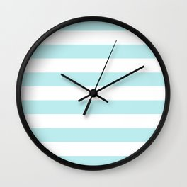 Turquoise Aqua Blue Stripe Horizontal Wall Clock