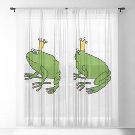 Cute Green Frog Prince Sheer Curtain