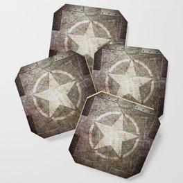 Army Star on Distressed Riveted Metal Door Coaster