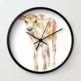 Jersey Calf Watercolor Cow Wall Clock