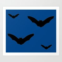 bats Art Prints featuring Bats by Jessica Slater Design & Illustration