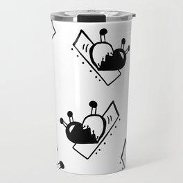 Hearts with Stitches - Black Travel Mug