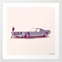 G'mas and their Hotrods Series, no.03 Ford Mustang Fastback Art Print