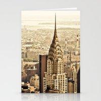 new york skyline Stationery Cards featuring New York City Skyline by Vivienne Gucwa
