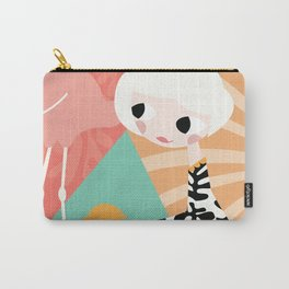 Girl with flamingo and Henri Matisse inspired decoration, vector illustration, geometric Carry-All Pouch