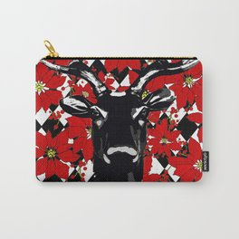REINDEER POINSETTIAS AND HARLEQUIN BLACK AND WHITE Carry-All Pouch