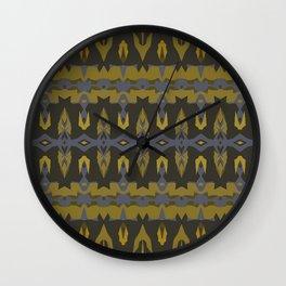 Navy and Gold IKAT Wall Clock