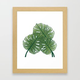 Large Monstera Leaf in Moss Green Framed Art Print
