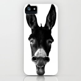 B&W Laughing Donkey iPhone Case
