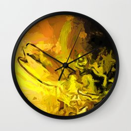 Yellow Lily Golden Light Flower Falling Star Wall Clock