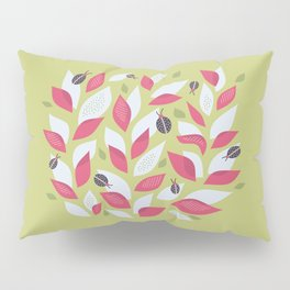 Pretty Plant With White Pink Leaves And Ladybugs Pillow Sham