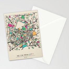 Colorful City Maps: Ho Chi Minh City, Vietnam Stationery Cards