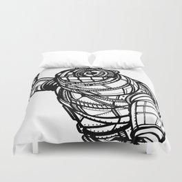 Robot black and white Duvet Cover