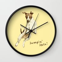 jack russell Wall Clocks featuring Jack Russell by Katherine Coulton