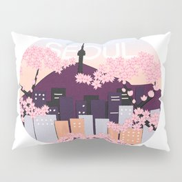 Seoul Tower with Cherry Blossoms Woodblock Style Souvenir Print Pillow Sham