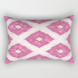 Floating Hearts on Geometrics Rectangular Pillow