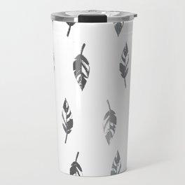 Lightly Feathered Boho Chic Farmhouse Grey Feather Print Travel Mug