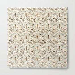 Elegant Fleur-de-lis pattern - pastel gold Metal Print