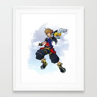 kingdom hearts Framed Art Prints featuring Kingdom Hearts 2 - Sora by Outer Ring