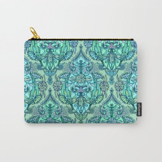 Botanical Moroccan Doodle Pattern in Mint Green, Lilac & Aqua Carry-All Pouch